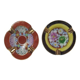 H.P. Goldcastle Asian Motif Ashtrays - A Pair
