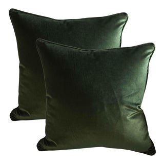 Belgian Green Silk Velvet Accent Pillows - A Pair