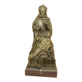 Queen Elizabeth Royal Bronze Sculpture on Marble Base Figurine
