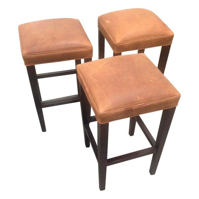 Richard Allen Leather & Wood Bar Stools - Set of 3 - Image 1 of 7