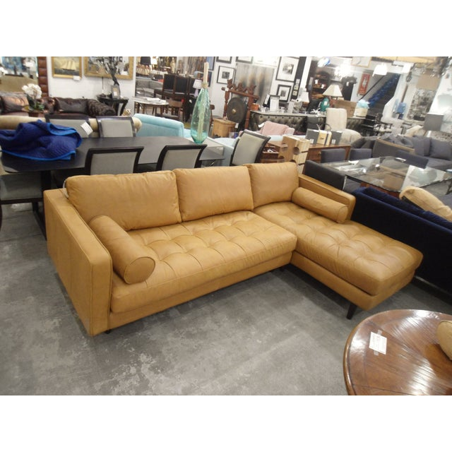 Tan Leather Sectional Sofa, Right Chaise, Tufted Seating - Image 2 of 8