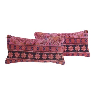 Pink Turkish Kilim Cushions - A Pair