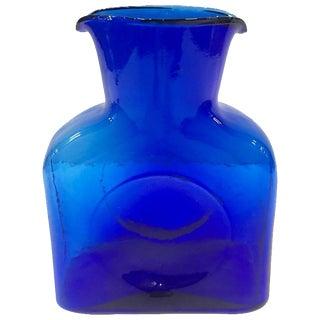 Vintage Blenko Glass Cobalt Double Spout Pitcher