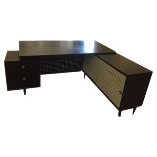Mid-Century Black Desk With Return