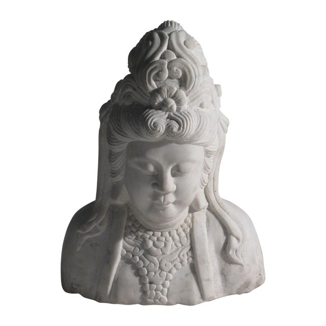 Image of Hand Carved Solid Marble Bust of Quan Yin
