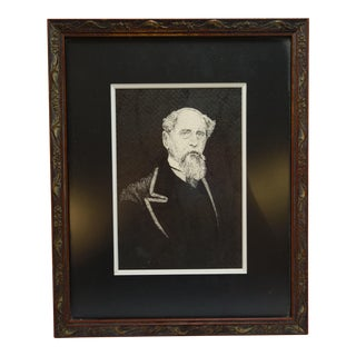 Antique Civil War Era Scratch Board Portrait