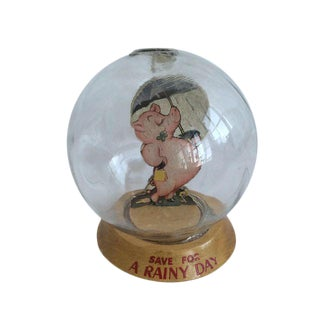"""Vintage """"Save For A Rainy Day"""" Glass Piggy Bank"""