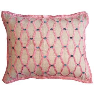 Burlap and Pink Velvet Applique Pillow Cover