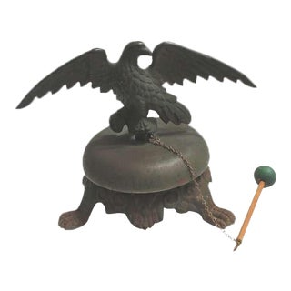 19th Century Large Bell on Iron Base with Bronze Eagle on Top