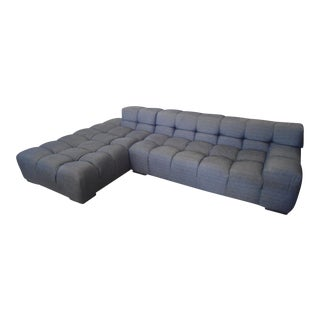 Plush Tufted Dark Gray Low Profile Sectional Sofa