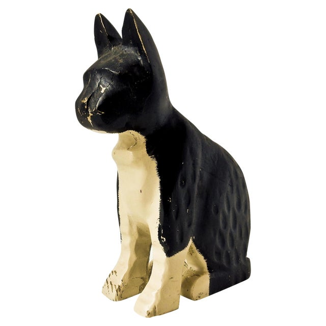 Hand-Carved Black & White Cat - Image 1 of 6