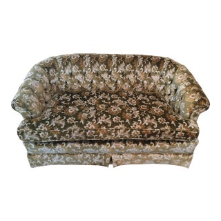 Hollywood Regency Tufted Green Crushed Velvet Floral Loveseat by Silver Craft