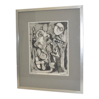 1960s Vintage Don Quixote Etching by B. Dubas