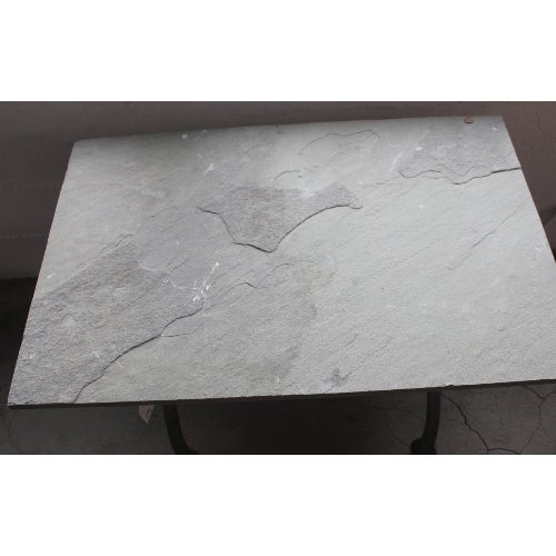 Image of Gray Slate Stone And Casted Iron Side Table