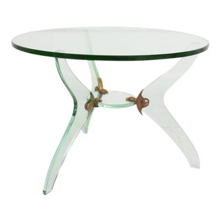 Italian Glass & Bronze Coffee Table