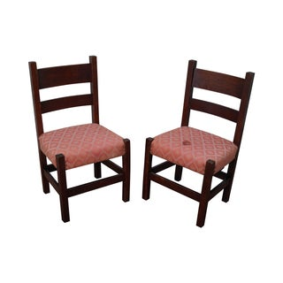 Antique Mission Oak Side Chairs - Pair