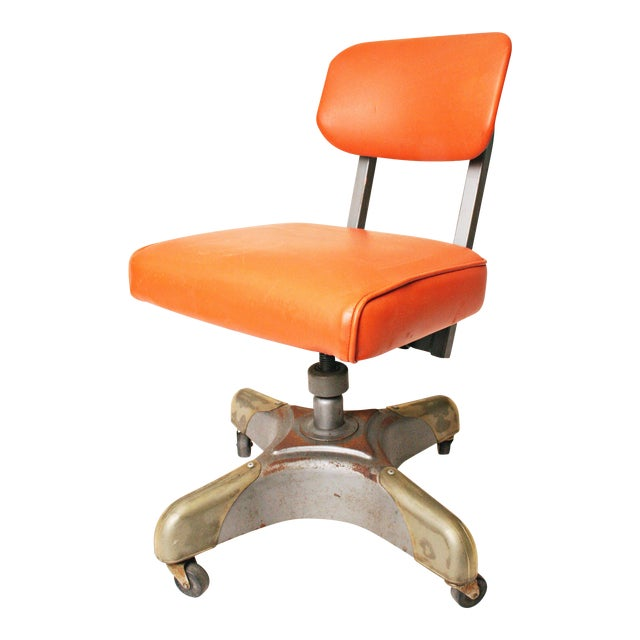 Vintage Orange Industrial Steel Office Chair - Image 1 of 11