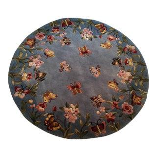 "Vintage Butterflies Abound Floral Wool Rug - 4'6"" x 4'6"""