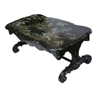19th Century Black Lacquered Coffee Table with Mother-of-pearl Inlay