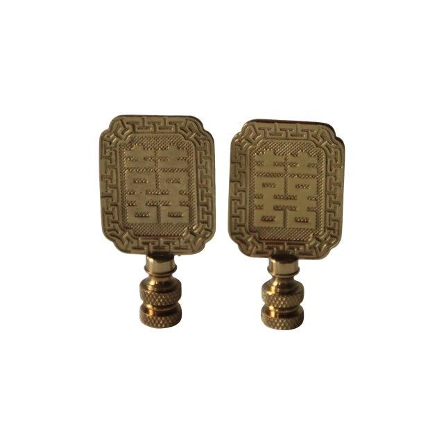 Asian Style Brass Lamp Finials A Pair Chairish