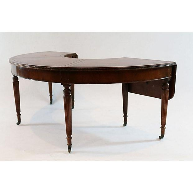 Mahogany & Leather Demilune Table - Image 3 of 9