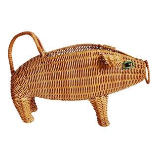 Vintage Wicker Pig Wine Basket