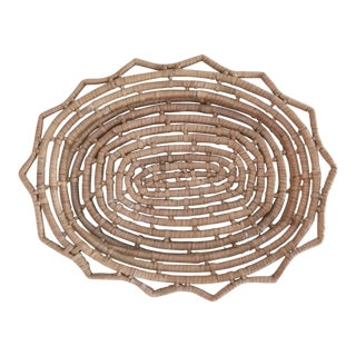 Vintage Handwoven Coiled Basket Tray