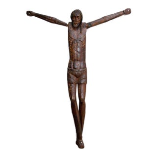 18th Century Antique Large Scale Primitive Wooden Crucifix