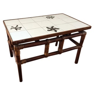 Ficks Reed Mid Century Bamboo & Tile Table
