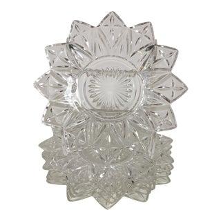 Vintage Cut Glass Star Appetizer Plates - Set of 6