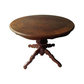 English Inlaid Wood Center Table