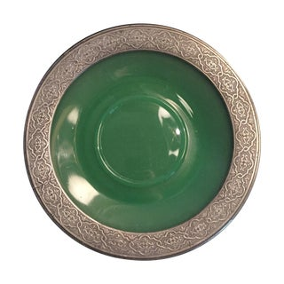 Edwardian Opaline Charger With Pewter Banding