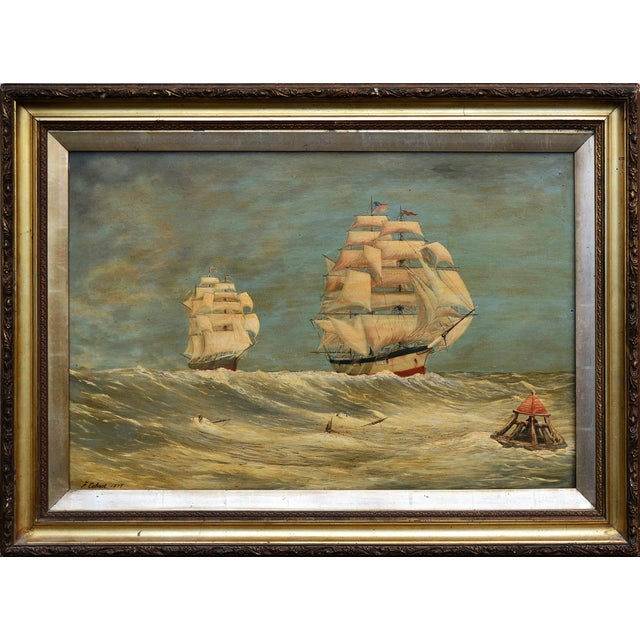 VIntage 1870s Schooners Under Sail Oil Painting - Image 1 of 3