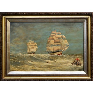 VIntage 1870s Schooners Under Sail Oil Painting