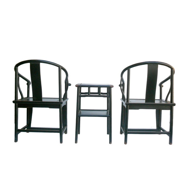 Chinese Black Lacquer Elm Armchairs & Side Table - Image 4 of 6