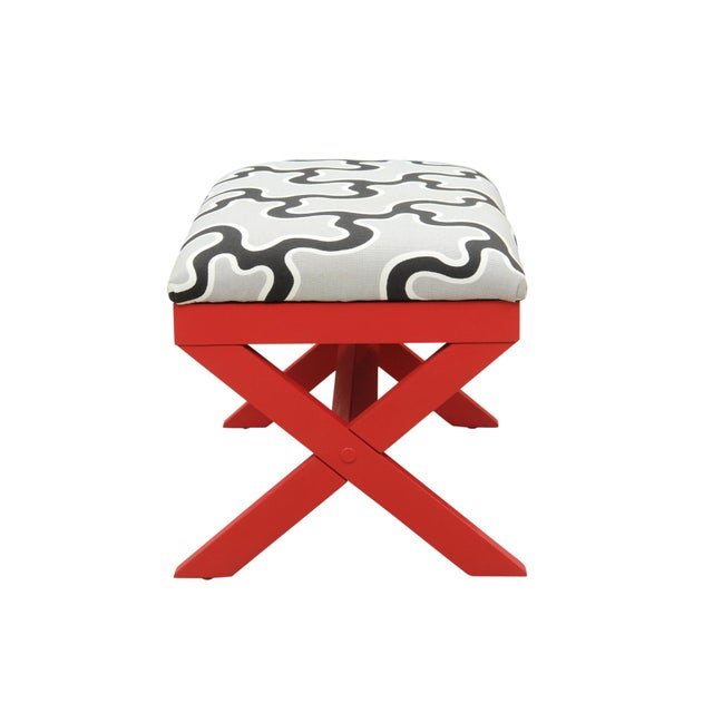 Cumulus Red Curule Bench - Image 5 of 7