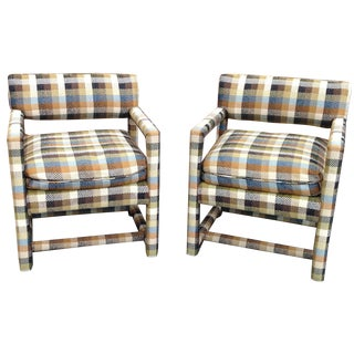Milo Baughman Plaid Tweed Parsons Chairs - A Pair