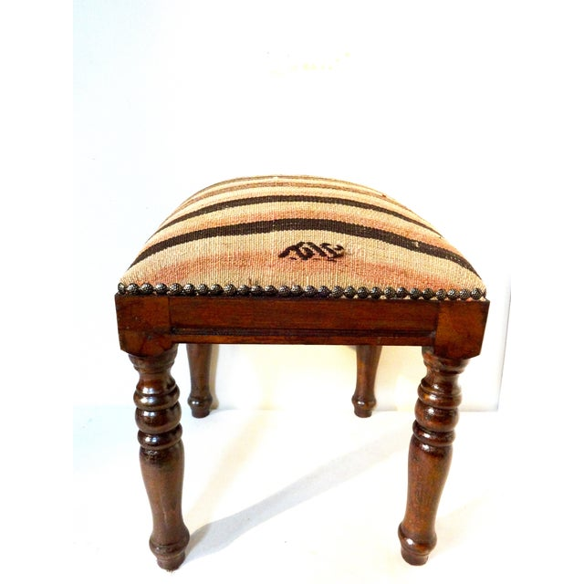 Image of Antique Caucasian Kilim-Upholstered Stool