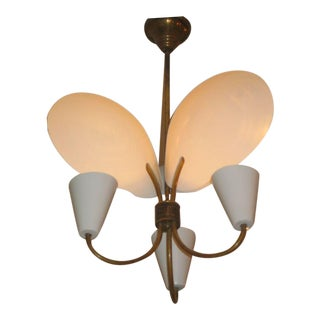 French Modernist Reflector Chandelier Attributed to Jacques Biny