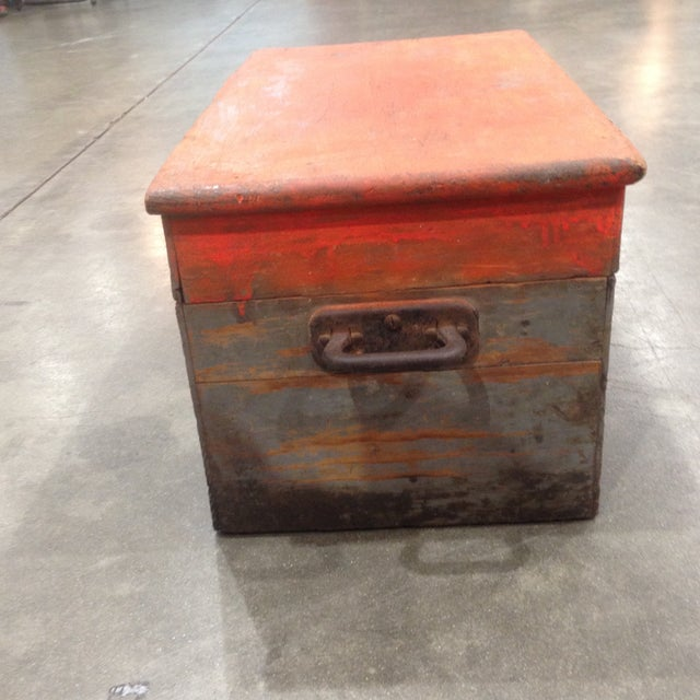 Rustic Antique Orange Wash Carpenter's Box - Image 4 of 5