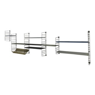 1960's modular multi colored steel wall mounted shelf by Tomado Denmark_SALE PRICE $1425