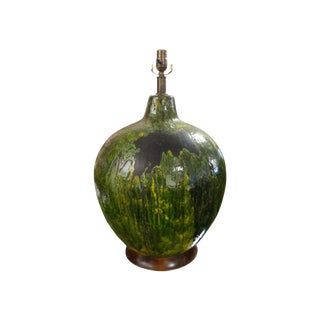 Huge Italian Drip Glaze Pottery Lamp