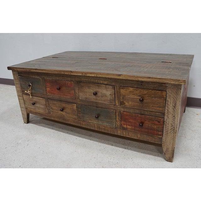 Kaplan Global Trunk Coffee Table Reclaimed Whitewash Large: Rustic Boat Wood Style Storage Coffee Table