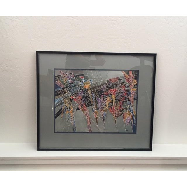 Geometric Abstract Watercolor Painting - Image 8 of 9
