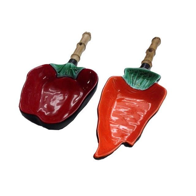Image of Vintage Pepper Shaped Ceramic Serving Dish - Pair