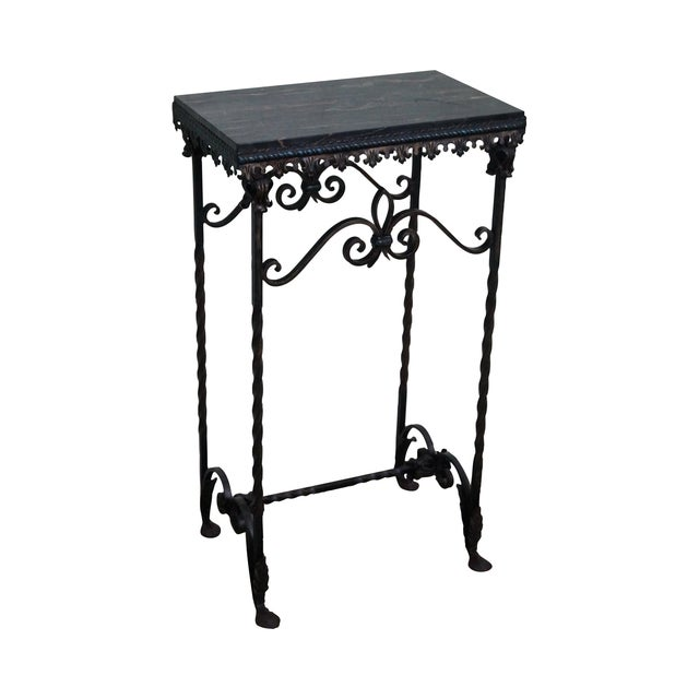 Antique Gothic Wrought Iron Marble Console Table - Image 1 of 10