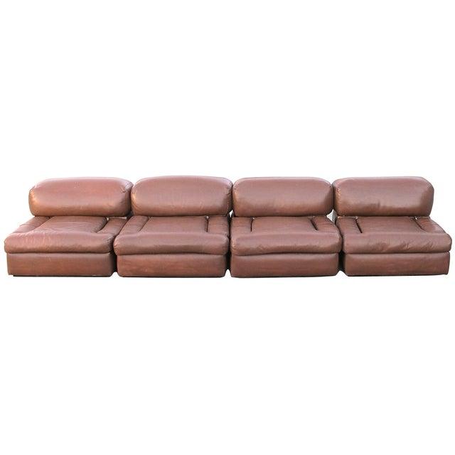 Custom made modular 7039s sectional leather sofa chairish for Sectional sofa 70