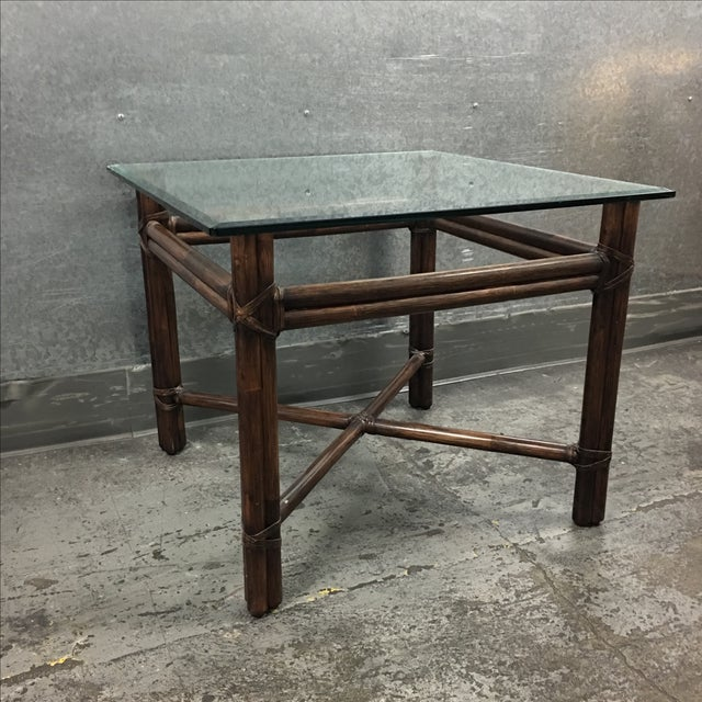 McGuire Bamboo & Glass Side Table - Image 3 of 6