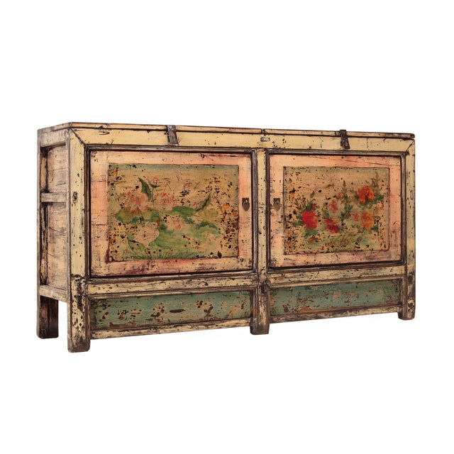 Image of Chinese Gansu Pastel Yellow & Pink Console Cabinet