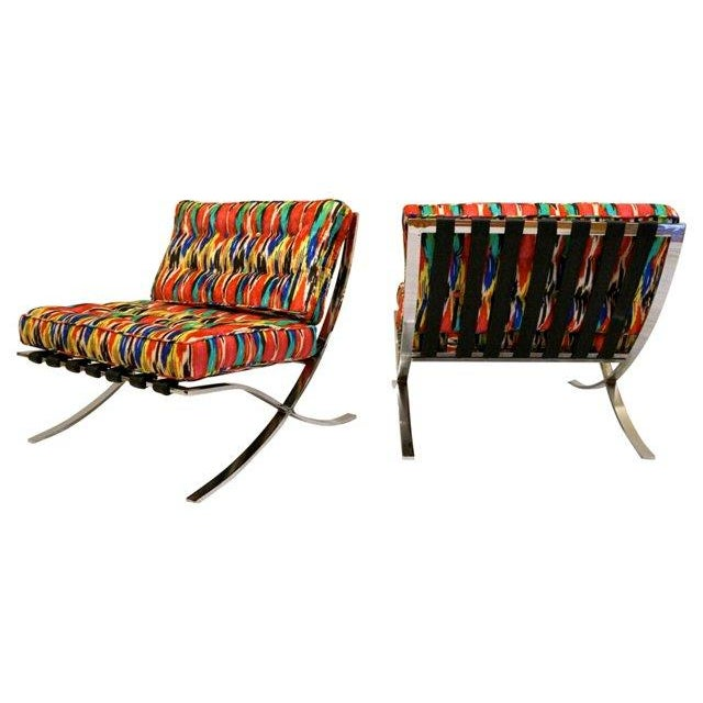 Ikat Barcelona Style Chrome Chairs - A Pair - Image 5 of 7